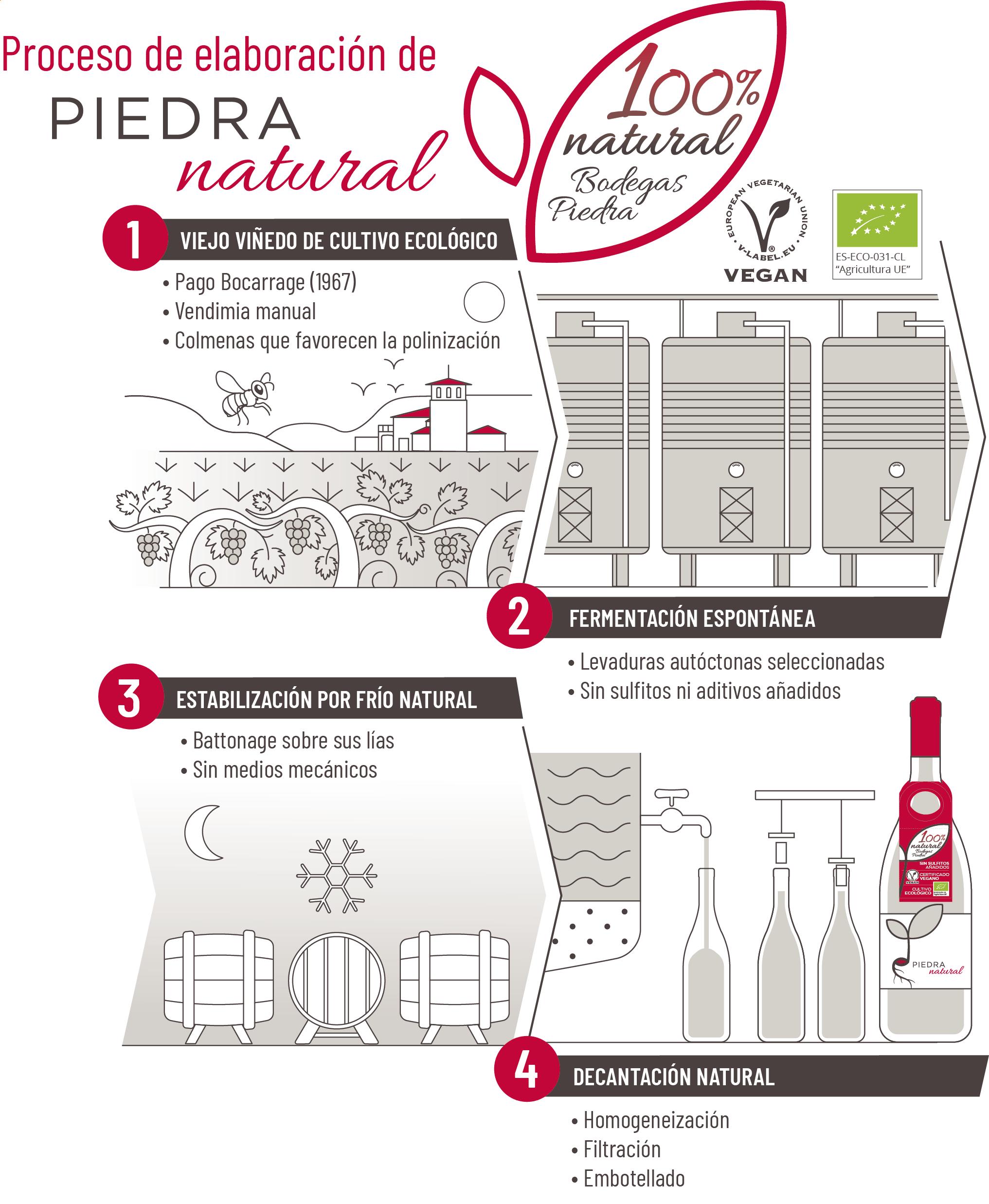 Elaboracion Piedra Natural un vino totalmente ecológico y vegano